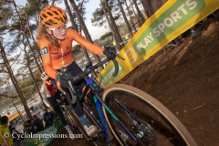 Puck Pieterse pictured in action on the racetrack of Heusden-Zolder